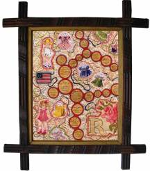 """Acrylic, embroidery, and fabric applications on antique linen 13"""" x 15"""" $900.00"""