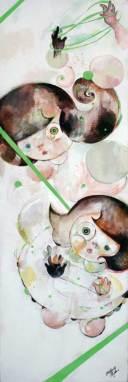"Oil on canvas, acrylic underpainting 8"" x 24"" $800.00"