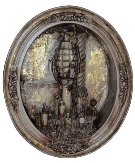 """Assemblage with hand grenade on M1 Grand Grenade Launcher (1940s-early 1950s), brass figures, vacuum tubes, clock parts 8"""" x 10"""" x 4"""" $900.00 Sold"""