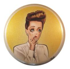 "Airbrush acrylic on metal-flake vinyl 24"" diameter $2,000.00 Sold"