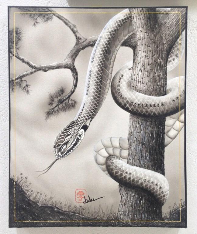 "Didu Losso - Matsu (Tree & Snake) Acrylic, ink & sand on canvas. 15x20"" $1500"