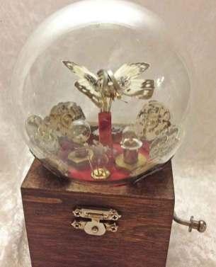 4 x 6 x 4 in. Mechanical sculpture of clockwork, real butterfly, garnet gemstones $550.00 Sold