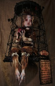 14 x 24 x 14 in. Mixed Media Taxidermy Assemblage (free hanging cage) $4,000.00