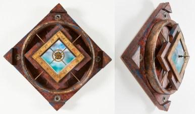 "Acrylic, plaster, antique hardware, wood, and masonite. 14"" x 14"" x 5"" $1,200.00 Sold"