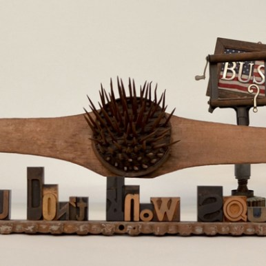 12.5 x 43 x 18 in. Mixed media found objects $1,750.00