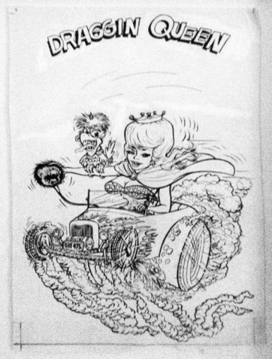 "Ed Newton* for Ed Roth Studio - Draggin Queen (1960s) Ink, whiteout on paper. 9x14"" in 13x18"" frame. $1,300"