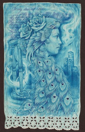 9 x 14 in. Ballpoint pen on fabric $500.00 Sold