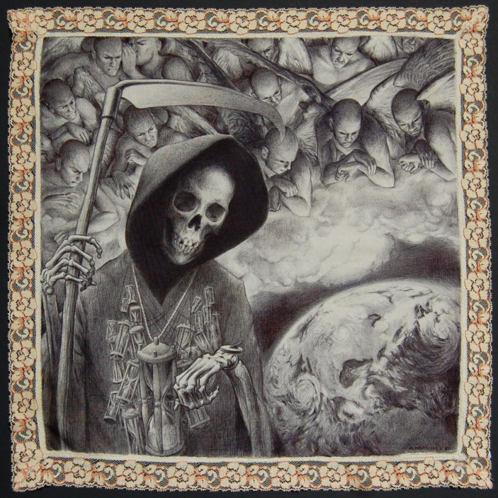 16 x 16 in. Ballpoint pen on fabric $800.00 Sold
