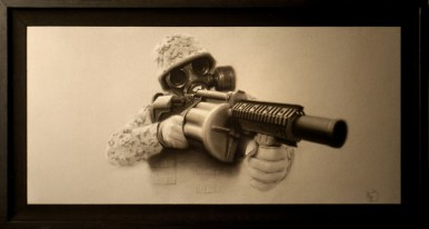 Charcoal on illustration board, 14 x 30 in. $2,000.00