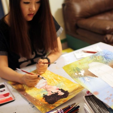 Danni Shinya Luo in her studio