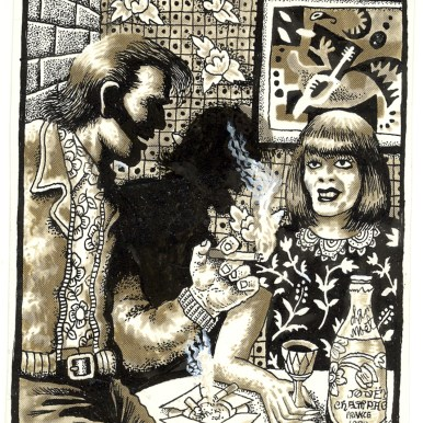 First Underground Comix Work of Joe Coleman; Final Days of Paul John Knowles, 1988 Ink on paper 5.25 x 4.25 in. SOLD