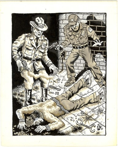 First Underground Comix Work of Joe Coleman; Final Days of Paul John Knowles, 1988 Ink on paper 6 x 5 in. SOLD