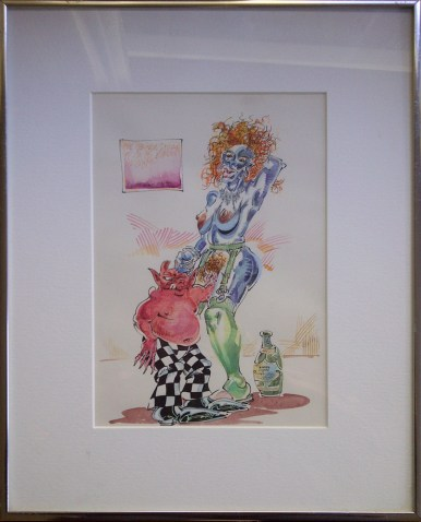 "(1992), Graphite, ink and watercolor on paper 7"" x 10"" in 12"" x 15"" frame $1,800.00"