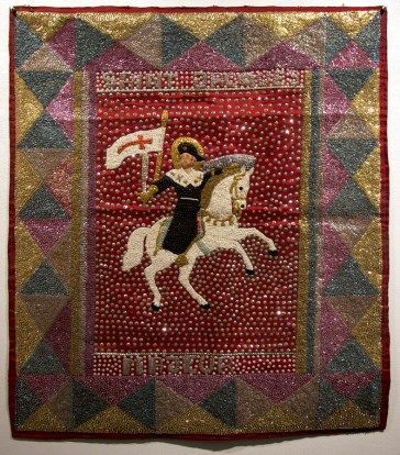 Fabric, sequins, and beads, 34 x 38.5 in. $1,200.00