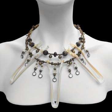 Duck mandibles, brass beads, capped rhinestones, 16 x 9 x 4.5 in. $450.00