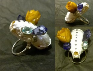 Ermine skull, resined rose, Swarovski crystals, acrylic, size 5 sterling silver, 2 x 1.5 x 2 in. $325.00