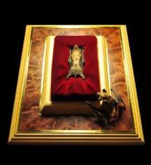 Freeze dried bats, wood, brass, velvet. 4 x 10 x 12 in. $800.00 Sold