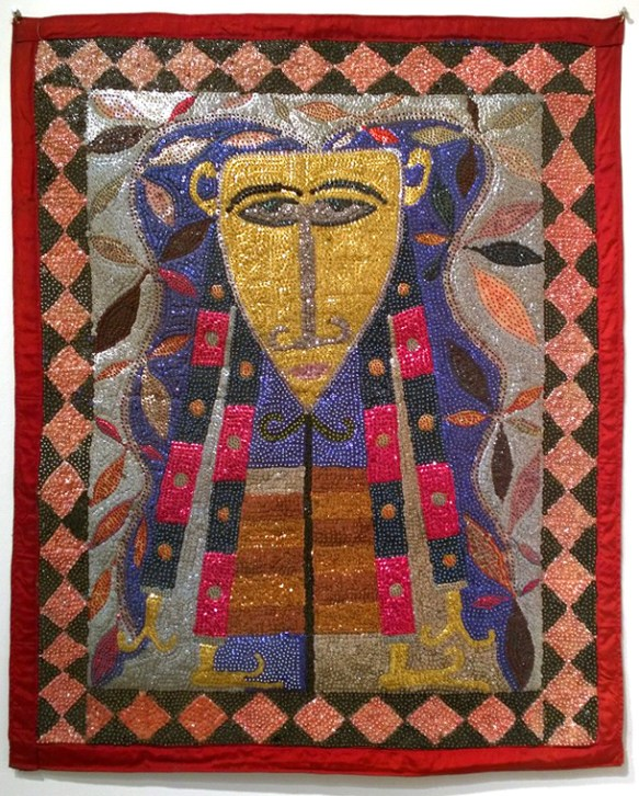 Fabric, sequins, and beads, 32 x 40 in. $6,000.00