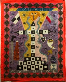 Fabric, sequins, and beads, 42 x 33 in. $8,000.00