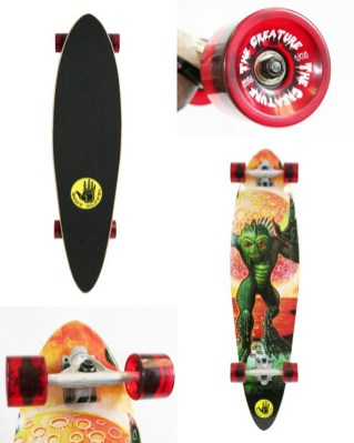 skate deck with custom wheels, 10 x 40 in. $190 with wheels, $150 without wheels