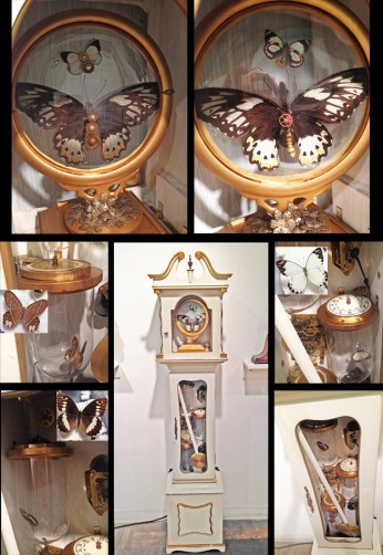 Five Real butterflies, vintage grandfather clock, antique clock parts. Movement: plug in, switch activated. Giant butterfly in the face of the clock rotates, 3 butterflies in the body of the clock is sound sensitive and flutters around. They will rest after a few seconds and will flutter around again based on sound vibrations. 17.25 x 14.25 x 72.5 in. $2,500.00