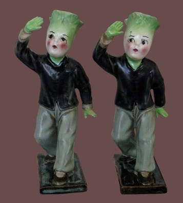 """Click Mort - Produce On The MarchPorcelain and epoxy, 6.5"""" x 3"""" x 3.25"""" (x2), Price TBD"""