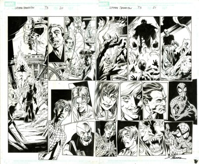 "ULTIMATE SPIDERMAN (2007) - Brian Michael Bendis, Mark Bagley & Scott Hanna (signed), Issue #73, Pages 20-21: Double Page Splash, Full Cast Flashback, 22"" x 17"" $1,500"