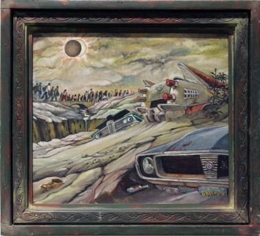 "Harold Fox - American Dream Eclipse Oil on masonite. 10x12"" in 14.25x14.25"" custom frame $650 Sold"