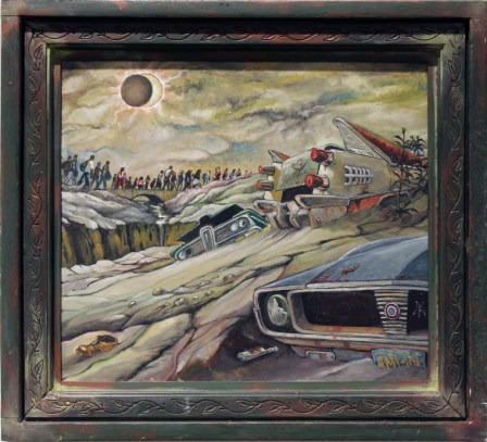 "Harold Fox - American Dream Eclipse Oil on masonite. 10x12"" in 14.25x14.25"" custom frame $650 Sold"