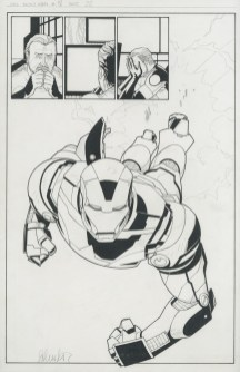 "THE INVINCIBLE IRON MAN (2008) 1st IRON PATRIOT - Matt Fraction & Salvador Larroca (signed), Issue #18, Page 22: Splash First Appearance of The Iron Patriot, 11"" x 17"" $1,200"