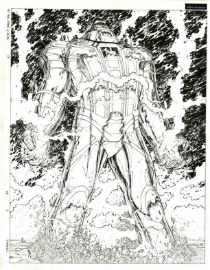 "THE ETERNALS (2005) DPS - Neil Gaiman, John Romita Jr. & Danny Miki Issue #6, Pages 20 & 21: Vertical Double Page Splash, 17"" x 22"" $1,800"