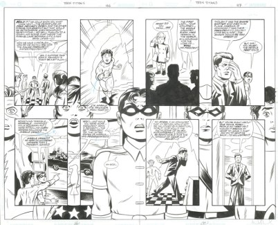 "TEEN TITANS LOST ANNUAL (2003) JFK - Bob Haney, Jay Stephens & Mike Allred (signed), Issue #1, Pages 46 & 47: Full Team Double Page Splash with JFK in Elseworld Scenario, 22"" x 17"" $1,500"