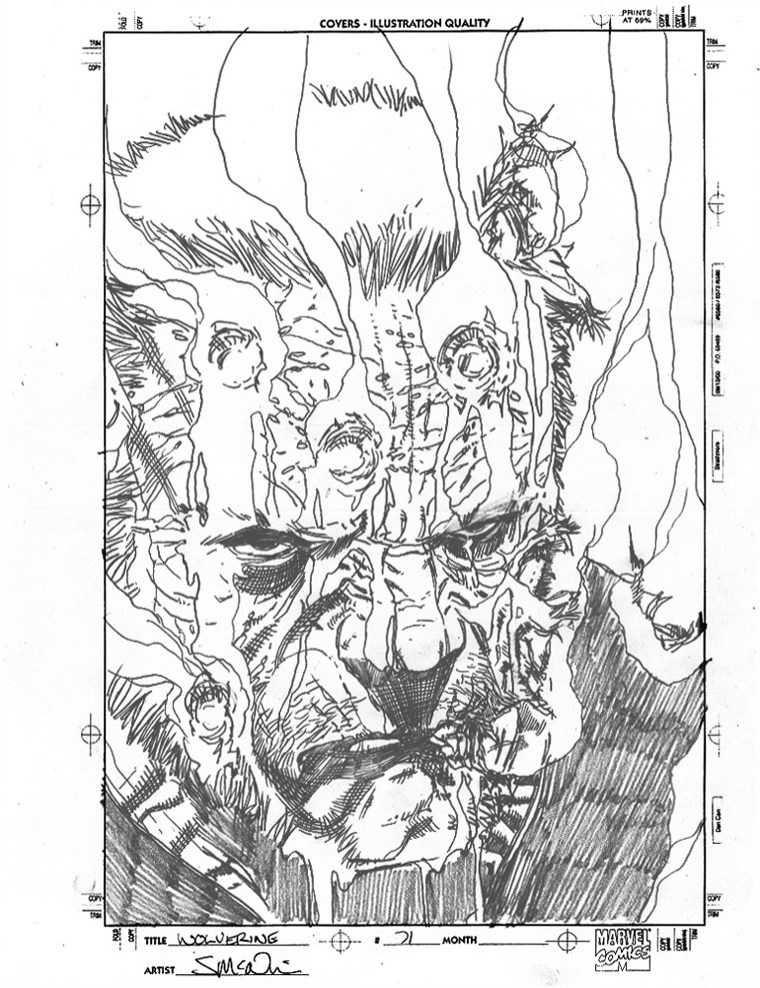 "WOLVERINE: OLD MAN LOGAN (2010) COVER PRE-LIM - Mark Millar & Steve McNiven (signed), Issue #71, Cover Rough (gore cover) graphite on paper, 8.5"" x 11"" $2,000"