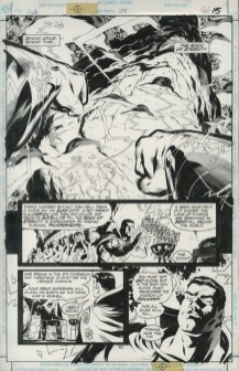 """JLA (1999) JUSTICE LEAGUE - Grant Morrison (signed), Howard Porter & John Dell Issue #28, page 15: The Rock of Eternity, 11"""" x 17"""" $500"""