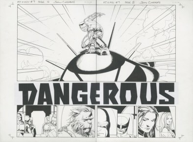 "ASTONISHING X-MEN (2005) DOUBLE SPLASH - Joss Whedon & John Cassaday, Issue #7, Pages 4 & 5: Colossus Returns to Battle / Full Team Double Splash Title Page, Graphite and ink on board with text inlay, 22"" x 17"" $4,500"