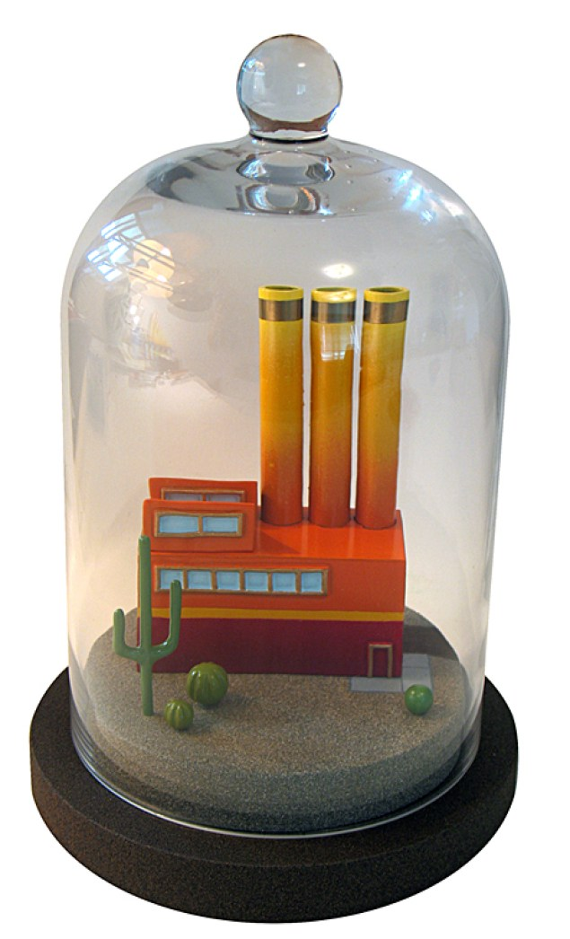 D. W. Marino - Carbon Capture Desert Wood, paint, and glass cloche, 6 in. diameter base x 9.5 in. tall, $350