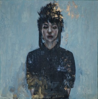 Christine Wu - Self Portrait (Temple of Art)Oil, toner, gold leaf, acrylic on wood panel, 16 x 16 x 2.25 in.