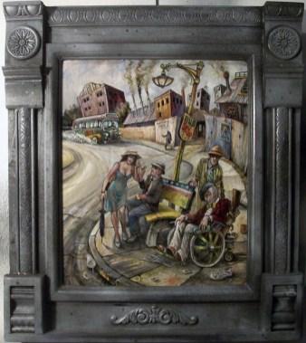 "Harold Fox - Bus of Fools Oil on masonite. 12x14.25"" in 18x20.25"" custom frame $950 Sold"