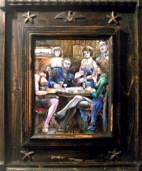 """Harold Fox - Captain's Table Oil on masonite. 8x10"""" in 14.75x17.75"""" custom frame $550 Sold"""