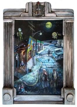 "Harold Fox - Smokin' Rockets and Wandering Souls Oil on masonite. 17.75x12"" in 22x16.75"" custom frame $850 Sold"