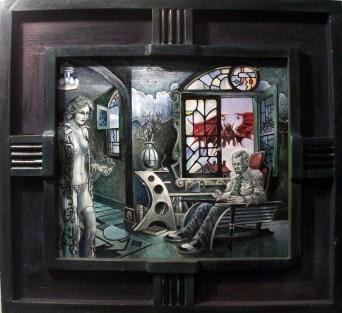 "Harold Fox - To Collect Souls Oil on masonite. 13.5x12"" in 19.75x18.25"" custom frame $775 Sold"