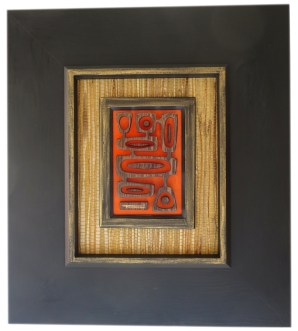 "Michelle Bickford - Paradise Cove Wenge wood veneer 3D sculpture, 5.5x7.25"" (15.75x17.5"" framed with vintage grasscloth), $900"