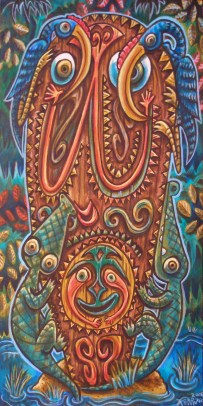 "Ken Ruzic - Lucky Dayacrylic on wood, 10x20"" $400"