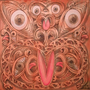 "Ken Ruzic - Maori Maskpyrography on wood with acrylic tinting, 8x8"" (woodburning thatching texture on sides) $250"