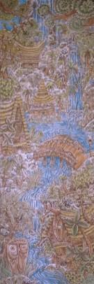 """Ken Ruzic - The Bridgepyrography on wood with acrylic tinting, 12x36"""" $1,200"""