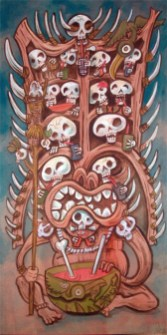 "Ken Ruzic - The Cannibal King's Drunken Headdressacrylic on masonite/artboard, 10x20"", (16x26"" with a Bamboo Ben frame) $400"