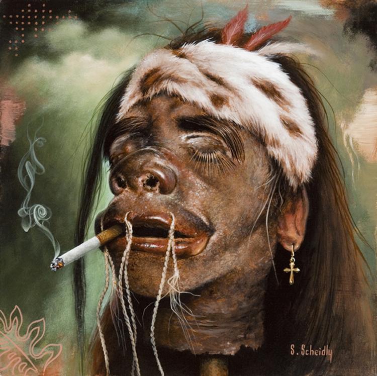 """Scott Scheidly - Shrunken Rocker HeadAcrylic, 9.75x9.75"""", (13.75x13.75"""" framed), $800"""