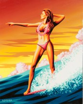 Marco Almera - Waikiki Surfer Girl Acrylic on canvas, 24x30 in. $1500 Sold