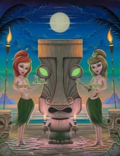 Aaron Marshall - Swaying Hula Girls Acrylic on canvas, 24x31 in. $2800