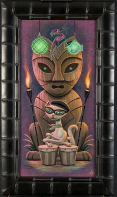 Aaron Marshall - Bongo Kitty Acrylic on canvas, 12.5x24 in. $2800 Sold